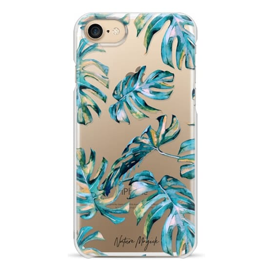 iPhone 7 Plus Cases - Turquoise Monstera Leaves by Nature Magick