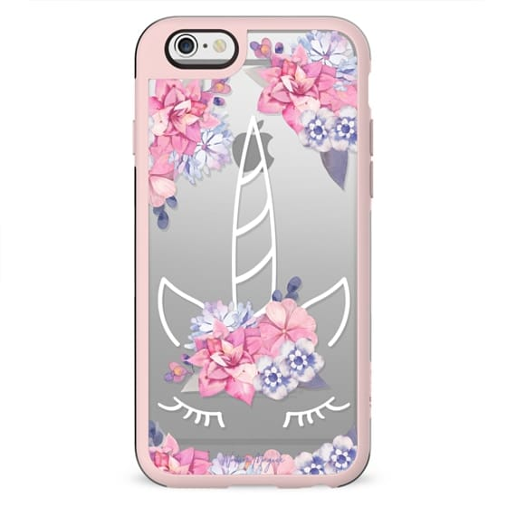 Unicorn with Flowers by Nature Magick - Purple Pink Floral + White Transparent
