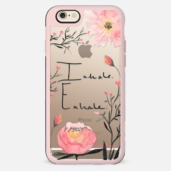 Inhale. Exhale. Flowers Quote by Nature Magick - Floral Rose Pink Transparent Clear