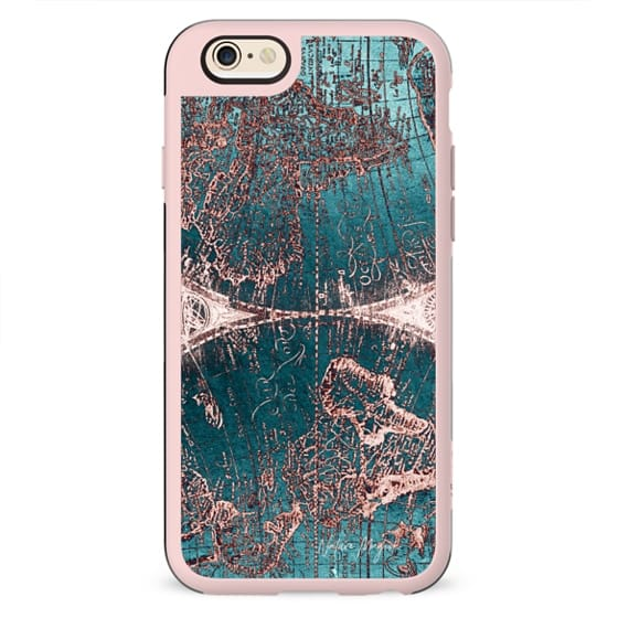 World Map Rose Gold Navy Blue by Nature Magick