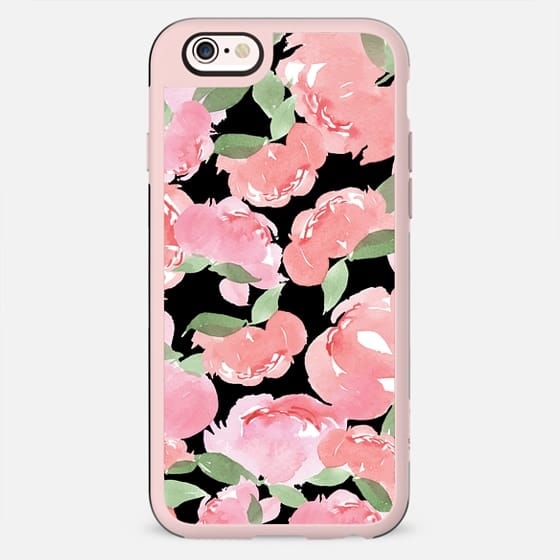 Android Phone Case Blush Peony Black - New Standard Case