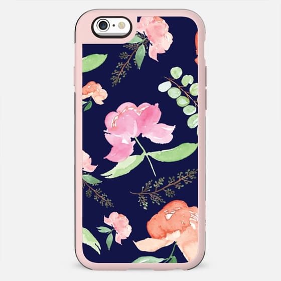 iPhone Peonies - Navy Blue - New Standard Case
