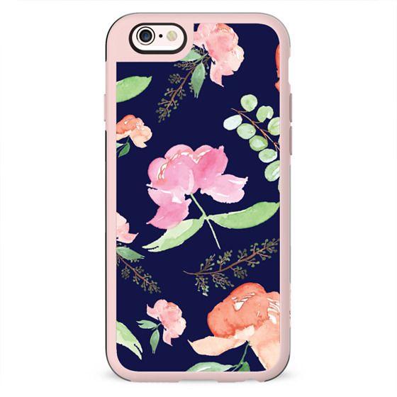iPhone Peonies - Navy Blue