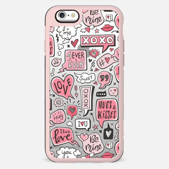 Sweet Love Words Speech Clouds & Hearts Typography Doodle Valentines Day on Red Pink - New Standard Case