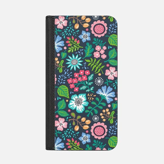 Bohemian Botanical Flowers Floral on Navy Blue
