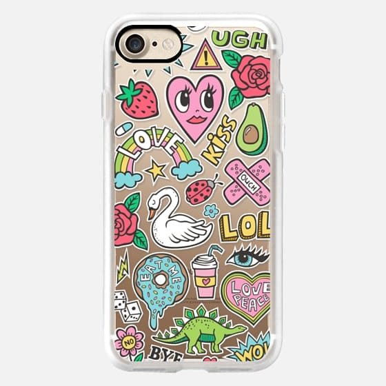 Patches Stickers Love,Hearts,Donut,Swan&Roses - Classic Grip Case