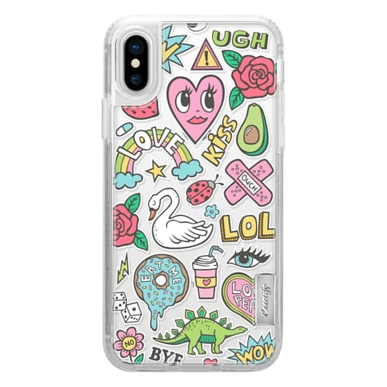 iPhone X Cases - Patches Stickers Love,Hearts,Donut,Swan&Roses