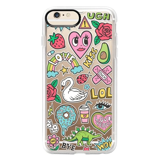 iPhone 6 Plus Cases - Patches Stickers Love,Hearts,Donut,Swan&Roses