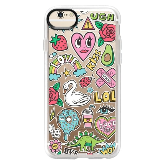 iPhone 6 Cases - Patches Stickers Love,Hearts,Donut,Swan&Roses