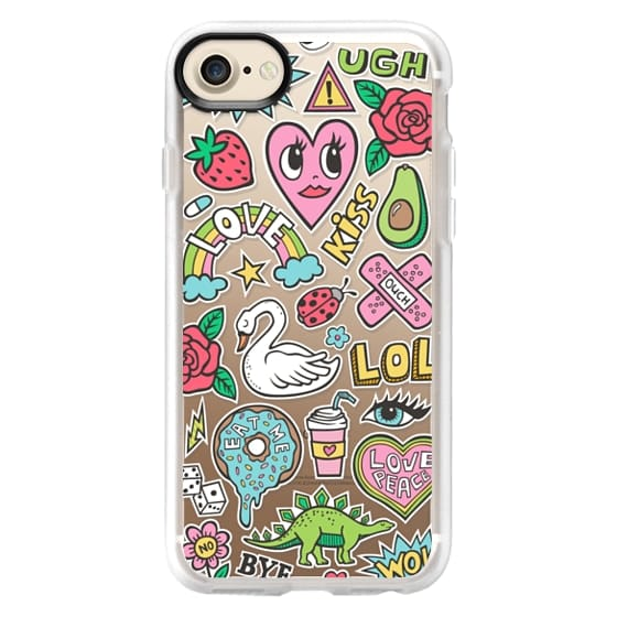 iPhone 7 Cases - Patches Stickers Love,Hearts,Donut,Swan&Roses