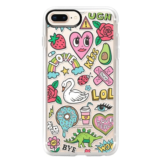 iPhone 8 Plus Cases - Patches Stickers Love,Hearts,Donut,Swan&Roses