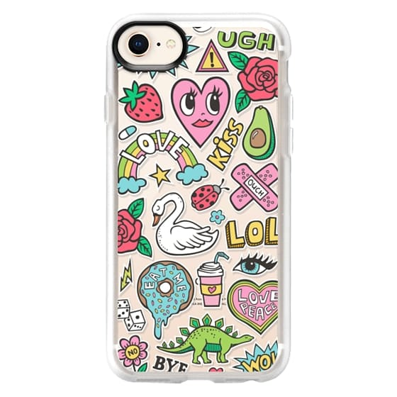 iPhone 8 Cases - Patches Stickers Love,Hearts,Donut,Swan&Roses