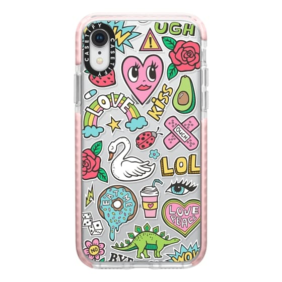 iPhone XR Cases - Patches Stickers Love,Hearts,Donut,Swan&Roses