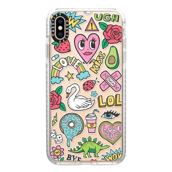 iPhone XS Max Cases - Patches Stickers Love,Hearts,Donut,Swan&Roses