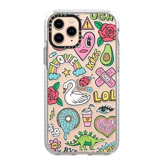 iPhone 11 Pro Cases - Patches Stickers Love,Hearts,Donut,Swan&Roses