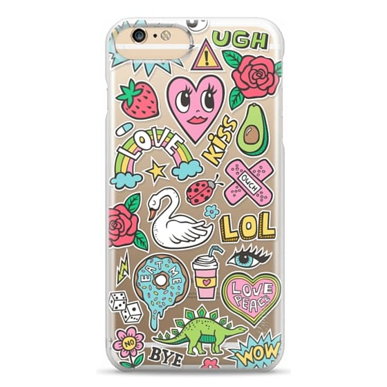 iPhone 6s Plus Cases - Patches Stickers Love,Hearts,Donut,Swan&Roses