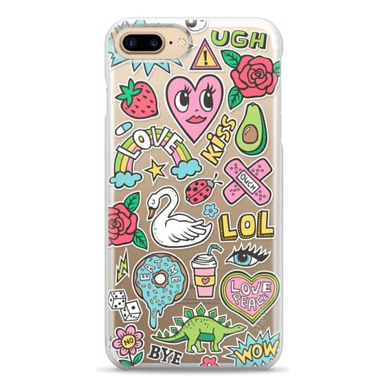 iPhone 7 Plus Cases - Patches Stickers Love,Hearts,Donut,Swan&Roses