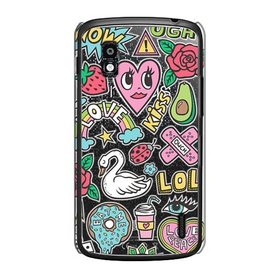 Nexus 4 Cases - Patches Stickers Love,Hearts,Donut,Swan&Roses