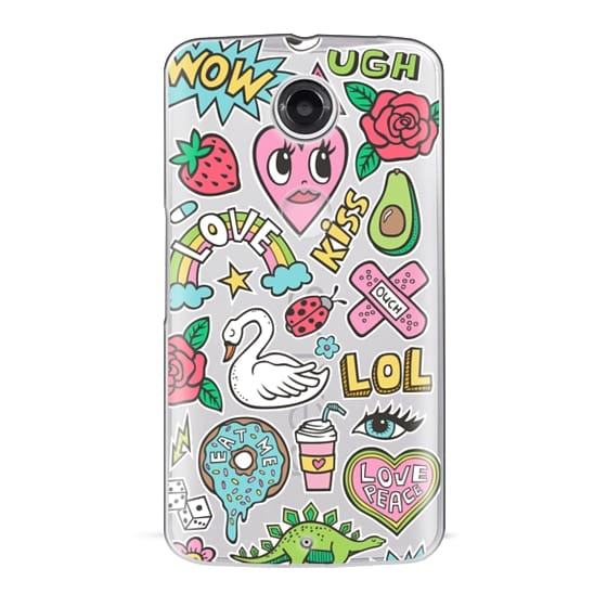 Nexus 6 Cases - Patches Stickers Love,Hearts,Donut,Swan&Roses