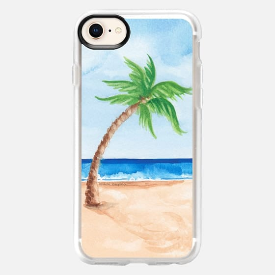 Watercolor Beach & Palm Tree - Snap Case