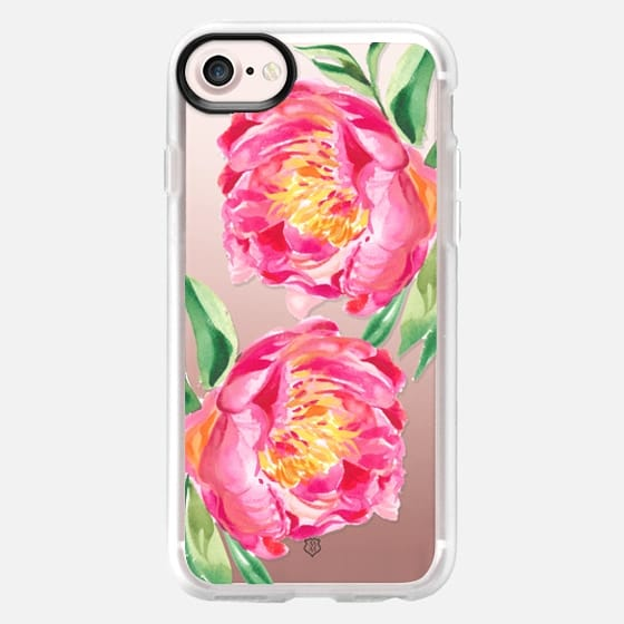Clear Watercolor Peony Flowers - Classic Grip Case