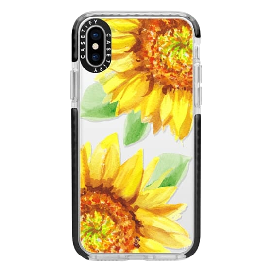 iPhone X Cases - Watercolor Rustic Sunflowers