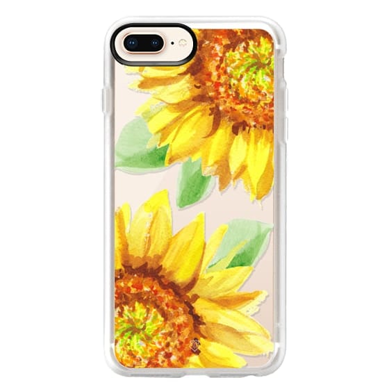 iPhone 8 Plus Cases - Watercolor Rustic Sunflowers