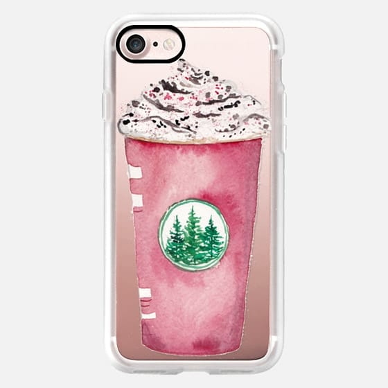 Starbucks Red Cup Peppermint Mocha Holiday Christmas Watercolor Latte -