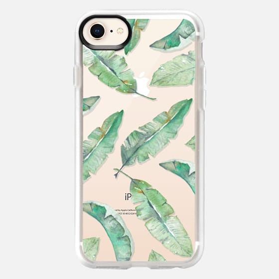 Watercolor Tropical Banana Palm Leaves Pattern - Snap Case