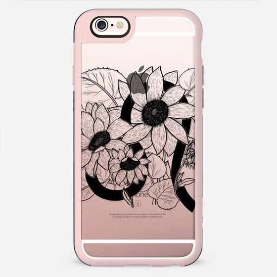 floral zodiac - leo - black - New Standard Case