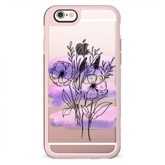 watercolour bouquet - purple & black