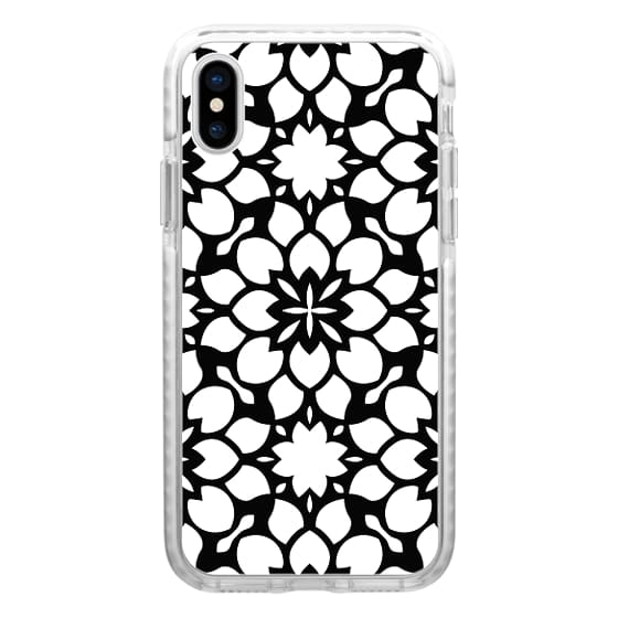 iPhone 7 Plus Cases - Black and White Abstract Floral Pattern Design