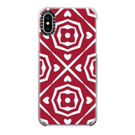 iPhone 7 Plus Cases - Red Flowers and Hearts Abstract Pattern