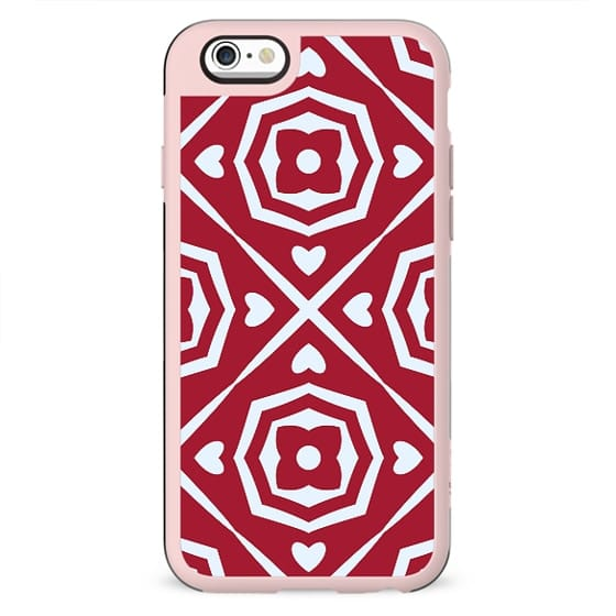 Red Flowers and Hearts Abstract Pattern