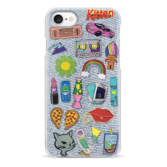 iPhone 7 Cases - 90's Pins on Denim