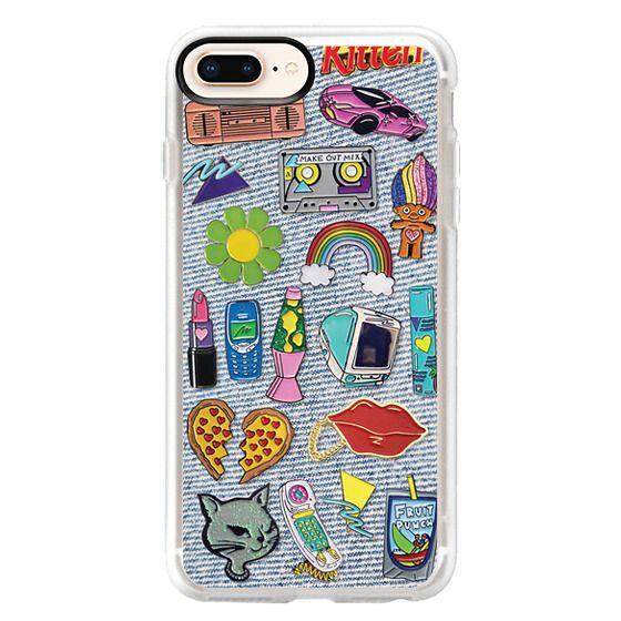 iPhone 8 Plus Cases - 90's Pins on Denim