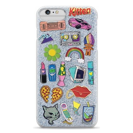 iPhone 6 Plus Cases - 90's Pins on Denim