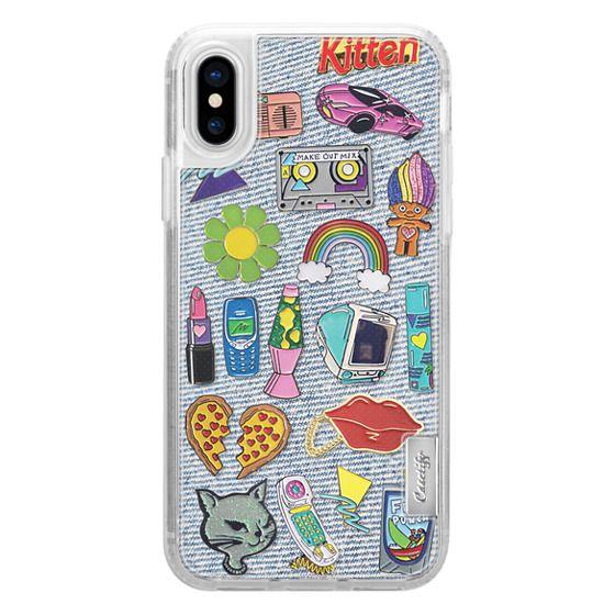 iPhone X Cases - 90's Pins on Denim