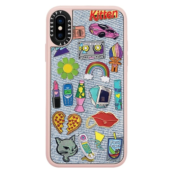iPhone X Cases - 90's Pins on Denim