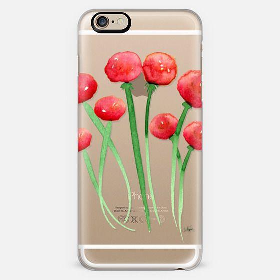 Watercolor Ranunculus Flowers Red and Orange -