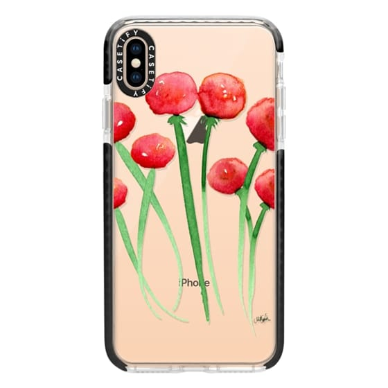 iPhone XS Max Cases - Watercolor Ranunculus Flowers Red and Orange