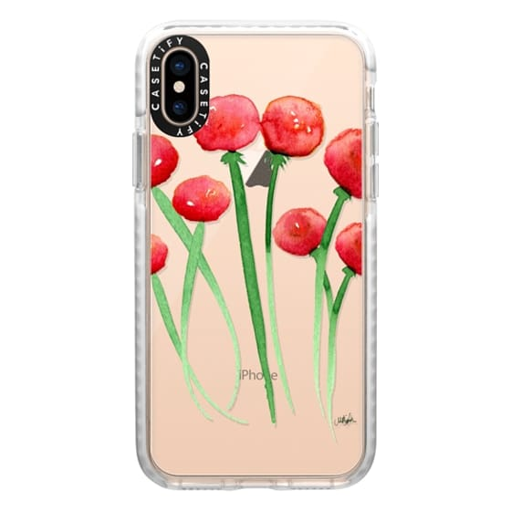 iPhone XS Cases - Watercolor Ranunculus Flowers Red and Orange