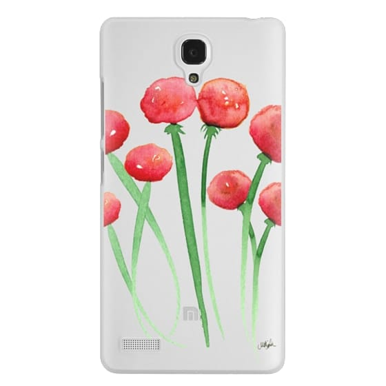 Redmi Note Cases - Watercolor Ranunculus Flowers Red and Orange
