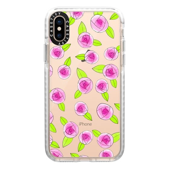 iPhone XS Cases - Pink & Green Girly Roses