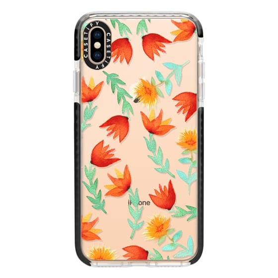 iPhone XS Max Cases - Coral Watercolor Flowers