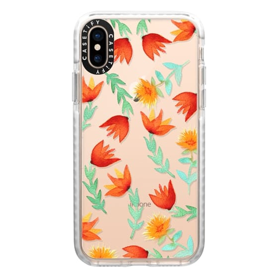 iPhone XS Cases - Coral Watercolor Flowers