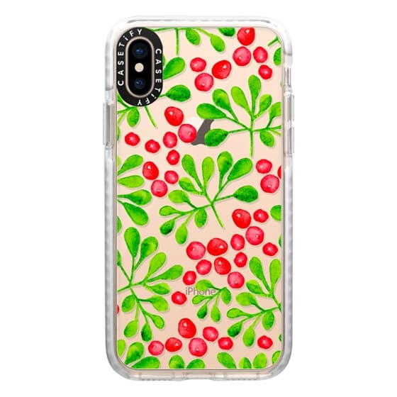 iPhone XS Cases - Christmas Branch + Berries Watercolor Red + Green