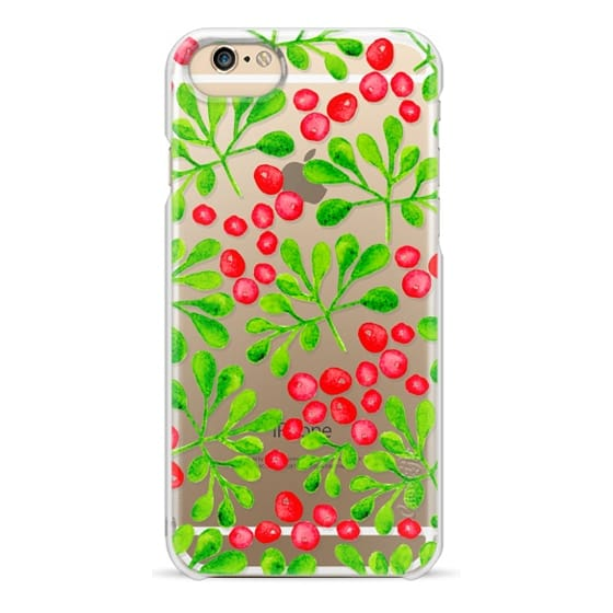 iPhone 6s Cases - Christmas Branch + Berries Watercolor Red + Green