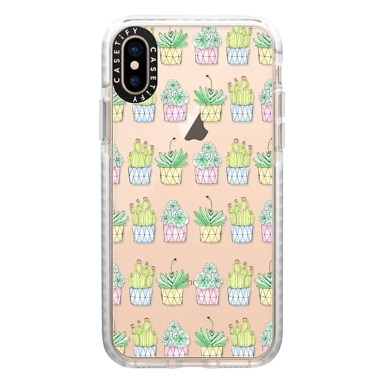iPhone XS Cases -   Edit Design Bright Succulents and Cactus in Pots