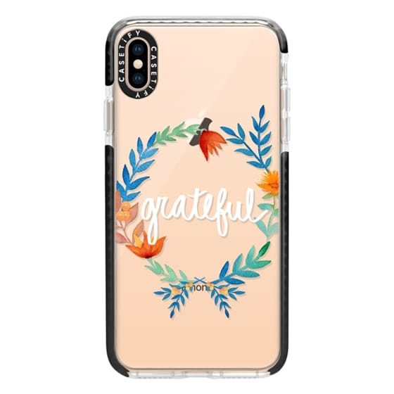 iPhone XS Max Cases - Grateful Floral Watercolors Seasonal Fall Thanksgiving